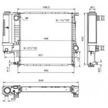 Радиатор BMW E30 88-91 E36 91-98 440X440 мех АС-