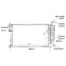 Радиатор PEUGEOT 306 CITROËN ZX 1.6-1.8D1.9D 93-02 610X360