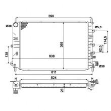 Радиатор FORD ESCORT  92-00 1,4-2,0 525Х380