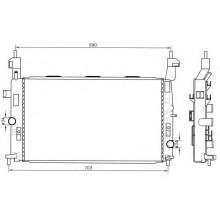 Радиатор OPEL MERIVA 1.7 DTI 03- 607X370X26 МКП