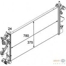 Радиатор BOXER, DUCATO, JUMPER 2.2HDI 06- 780X375