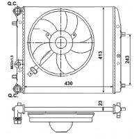 Радиатор SKODA FABIA VW POLO 1.0 - 1.4 16V 430X415 AC-