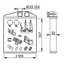 Радиатор печки OPEL COMBO, CORSA C TIGRA - 72661 (NISSENS), 170Х160Х42