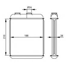 Радиатор печки OPEL ZAFIRA A, ASTRA G - 72662 (NISSENS), 210Х180Х25