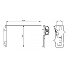 Радиатор печки PEUGEOT 405, 406 - 72935 (NISSENS), 250Х158 версия Valeo