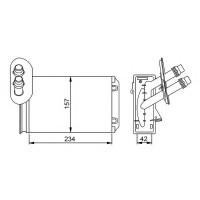 Радиатор печки SKODA OCTAVIA, VW BORA G4, AUDI A3 - 73921 (NISSENS), 234Х157