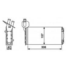 Радиатор печки VW VW TRANSPORTER Т4 92-03 - 73965 (NISSENS), 306Х157