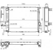 Радиатор охлаждения BMW E34 89-95 520Х440 МКП АС+, 60743A (NISSENS)