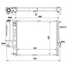 Радиатор охлаждения BMW E34 89-95 520Х440 МКП АС+, 60615A (NISSENS)