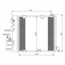 Радиатор кондиционера OPEL ASTRA G  ZAFIRA A CDTI  370X380