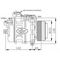 Компрессор кондиционера BMW 3 (E46) BMW 5 (E39) BMW 7 (E38) - DCP05018 (DENSO)