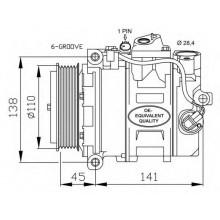 Компрессор кондиционера DCP17026 MERCEDES-BENZ C-CLASS CLK S-CLASS SL-CLASS