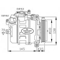 Компрессор кондиционера BMW 7 (E65, E66) - DCP05021 (DENSO) без шкива