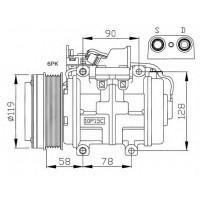 Компрессор кондиционера MERCEDES-BENZ 190, 124, 460, 126, 79-95 - DCP17001 (DENSO)