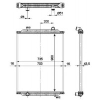 Радиатор без рамы  Версия behr  KERAX 00- 900X708X52