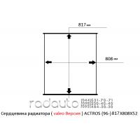 Сердцевина радиатора MERSEDES-BENZ ACTROS (96-), valeo версия, 817X808X52