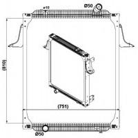 Радиатор в cборе PREMIUM 00- 810X708X52 Косой патрубок