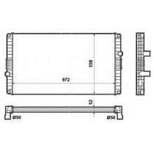 Радиатор в сборе B7 TL (96-) ,B12M (96-),B12 RH (96-) 972X558X52