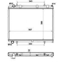 Радиатор охлаждения CITROEN C4 / PEUGEOT 307, 308 - 160103N (AKS DASIS)